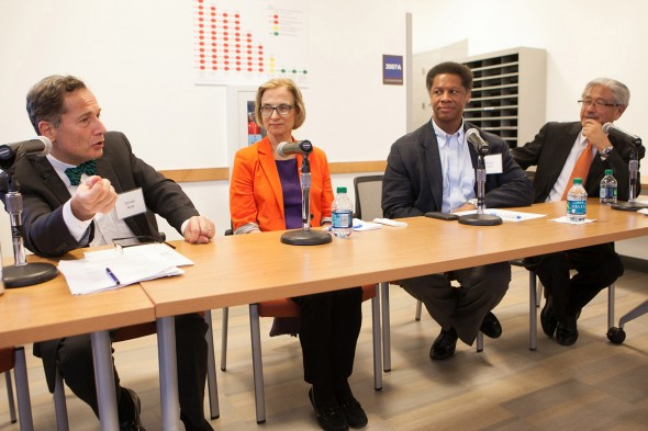"NAM president Victor Dzau, right, on a ""Listening Tour,"" with University of Chicago College of Medicine dean Dimitri Azar, left, Medicine's Patricia Finn and UI Health's Robert Winn (center). Photo: Diane M. Smutny"