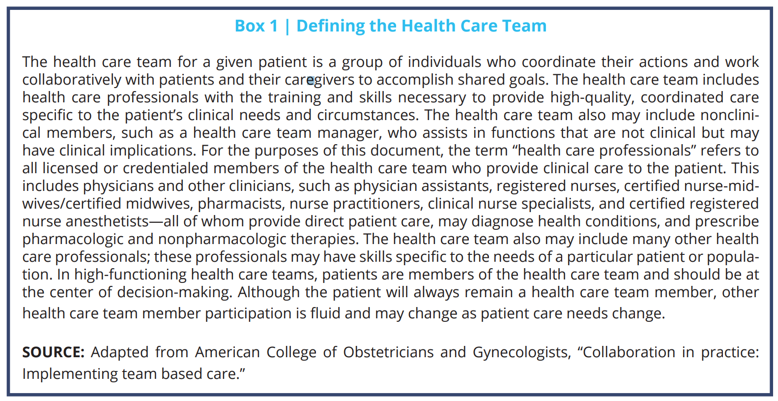 Implementing Optimal Team Based Care To Reduce Clinician